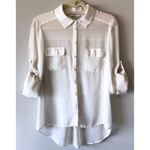 Zara Tops - New Look Sheer Button-up Blouse w Pearl Buttons